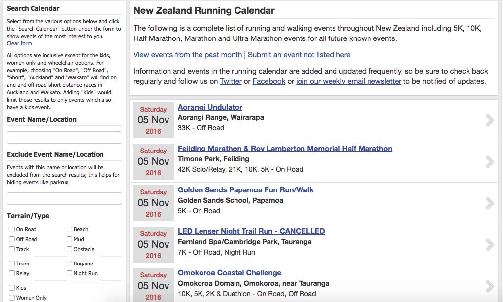 информацию о беговых стартах в Новой Зеландии