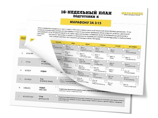 16-недельный план подготовки к марафону на 3:15