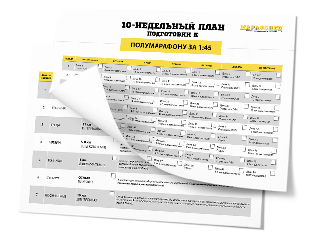 10-недельный план подготовки к полумарафону на 1:45