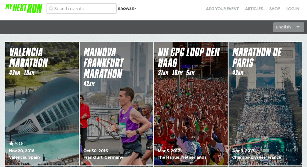 Представлено много забегов и марафонов в самых различных странах.
