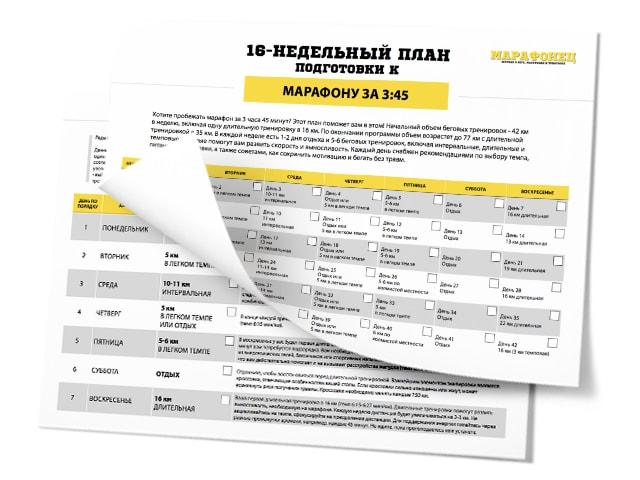 16-недельный план подготовки к марафону на 3:45