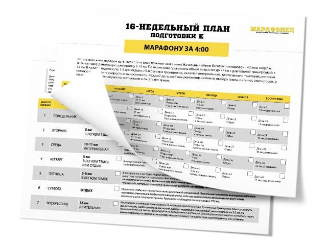 16-недельный план подготовки к марафону на 4:00