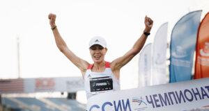 Сардана Трофимова на чемпионате России по марафону 2020 в Сочи